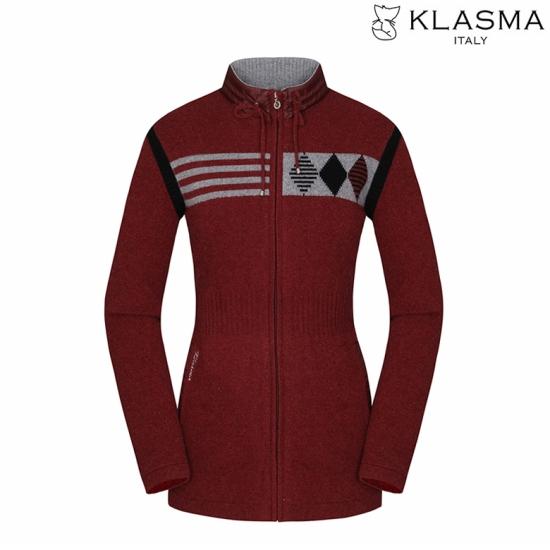 KLASMA 여성 배색 니트 집업 가디건K74AKCW100-WI