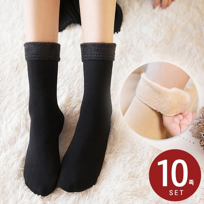 10족세트 융털 기모 양말 여성 방한 융 털 무지 장목 밍크 수면 보온 겨울