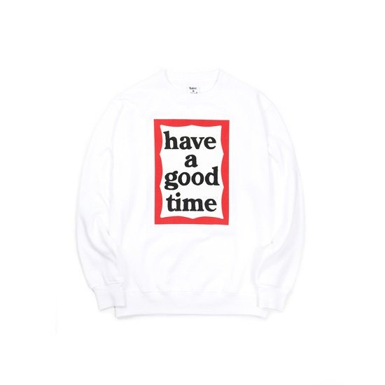 [HAVE A GOOD TIME] FRAME CREW NECK_WHITE 헤브 어 굿 타임