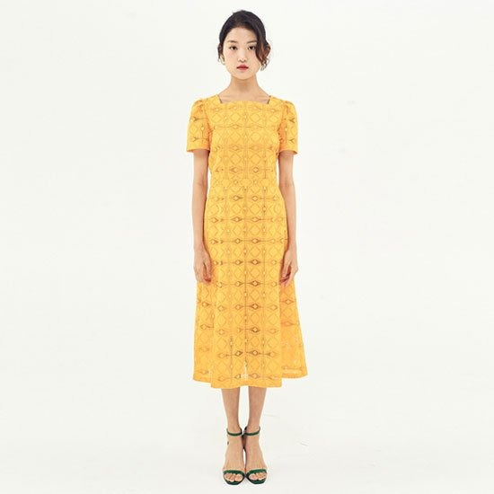 [주문폭주][재입고][OH L] Square Neck Lace Dress_Yellow 오앨